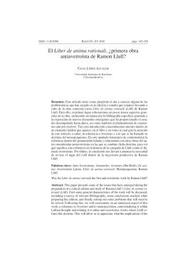 Liber de anima rationali, antiaverroísta de Ramon Llull? C L