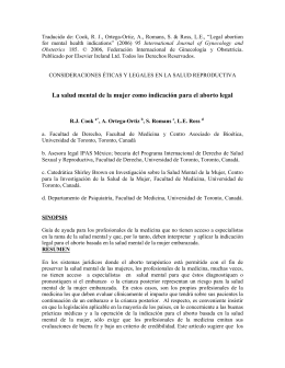 Traducido de: Cook, R. J., Ortega-Ortiz, A., Romans, S. &... International Journal of Gynecology and