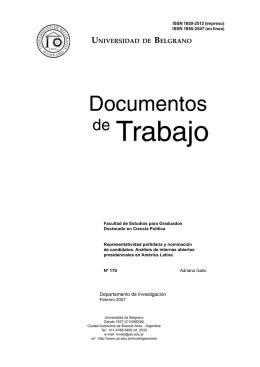 Representatividad Partidaria y Nominación de Candidatos. Análisis de Internas Abiertas Presidenciales en América Latina.