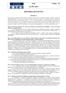 PAU XUÑO 2011 HISTORIA DE ESPAÑA Código:   03