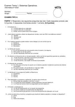 Examen Tema 1: Sistemas Operativos. Informática 4º ESO Nombre:
