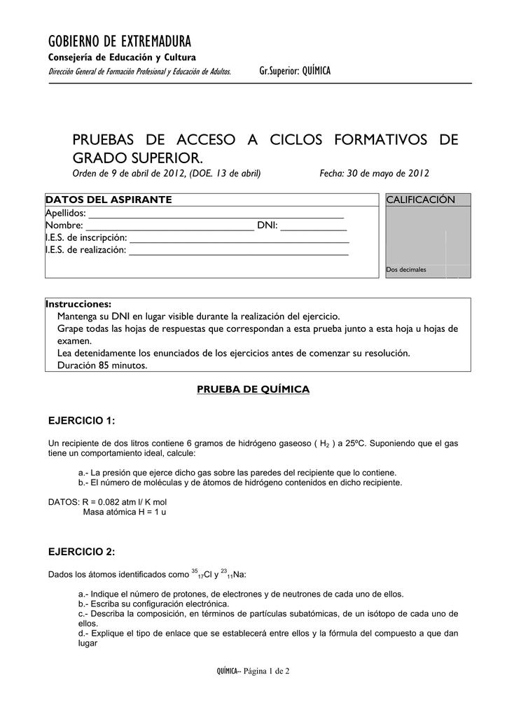 Gobierno De Extremadura Pruebas De Acceso A Ciclos
