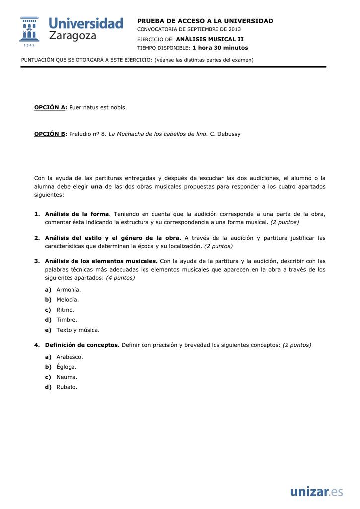 Prueba De Acceso A La Universidad Análisis Musical Ii