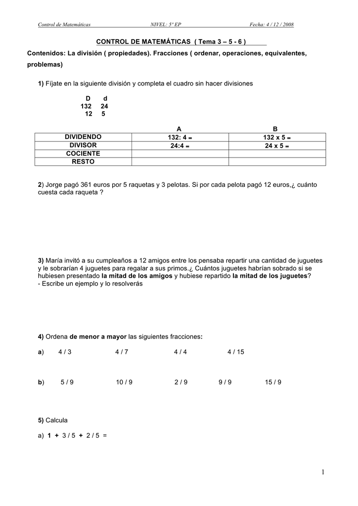 Control De Matemáticas Tema 3 5 Contenidos La