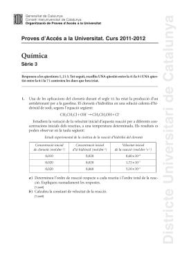 Química Proves d'Accés a la Universitat. Curs 2011-2012 Sèrie 3