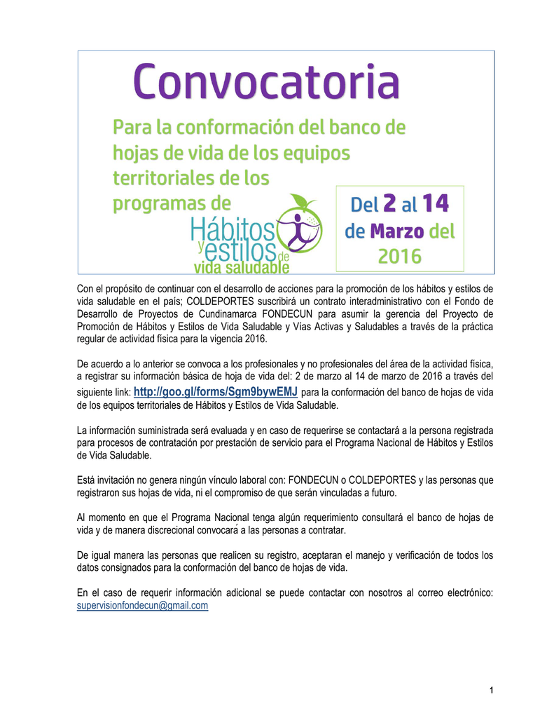 CONVOCATORIA HÁBITOS Y ESTILOS DE VIDA SALUDABLE COLDEPORTES