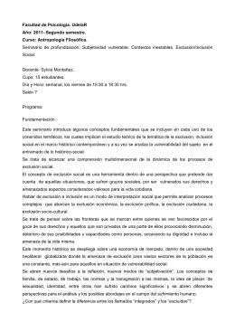 Facultad de Psicología. UdelaR Año: 2011- Segundo semestre. Curso: Antropología Filosófica.