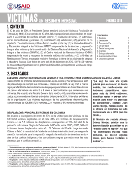 Víctimas, resumen mensual [español] - Febrero 2014