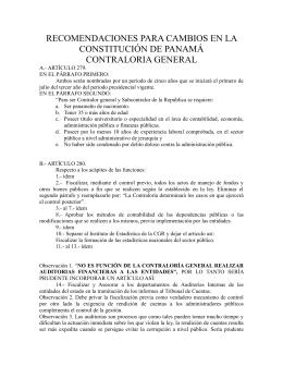NUESTRAS SUGERENCIAS DE CAMBIOS A LA CONSTITUCION PARA LA CONTRALORIA DE PANAMA.