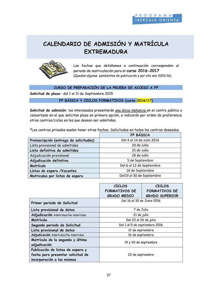 Calendario De Admisión Y Matrícula Extremadura Curso 2016 2017