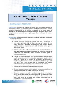 BACHILLERATO PARA ADULTOS Valencia 1. BACHILLERATO A DISTANCIA