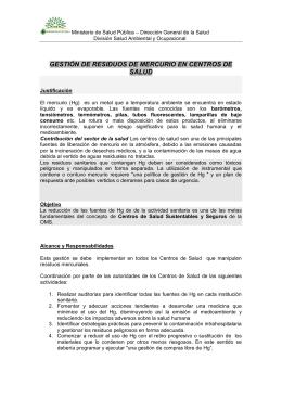 RESIDUOS DE MERCURIO EN CENTROS DE SALUD