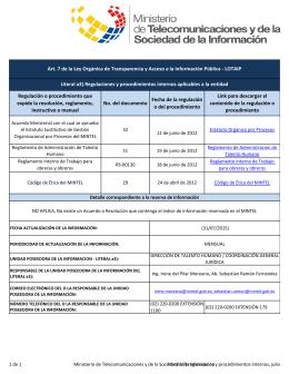 Ver literal a3) regulaciones y procedimientos internos, julio