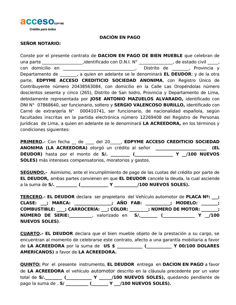 Dacion Pago
