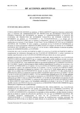 HF Acciones Argentinas: Reglamento de Gestión