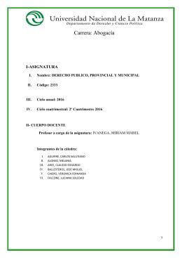 Derecho Público, Provincial y Municipal