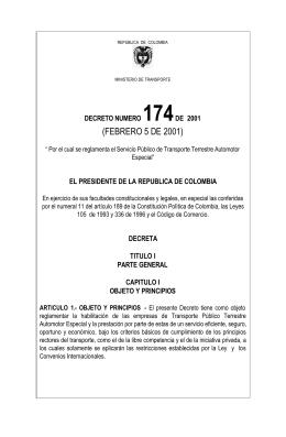 Decreto 174 del 5 de Febrero del 2001