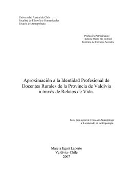 Aproximaci n a la identidad profesional de docentes rurales de la Provincia de Valdivia a trav s de relatos de vida