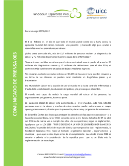 Press Release - WCD - Fundación Esperanza Viva
