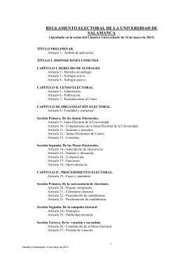 Reglamento Electoral de la Universidad de Salamanca.