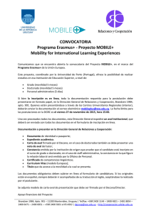 CONVOCATORIA Programa Erasmus+ - Proyecto MOBILE+ Mobility for International Learning Experiences