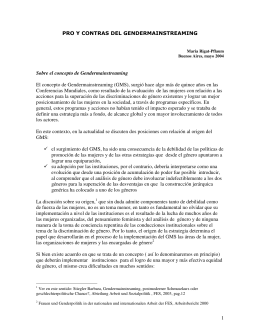 PROS Y CONTRAS DEL GENDERMAINSTREAMING-2004