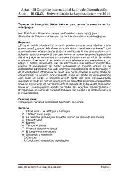 013 - Trampas de tramoyista. Notas teóricas para pensar la narrativa en los videojuegos , Iv n Bort Gual y Shaila Garc a Catal n, Universitat Jaume I