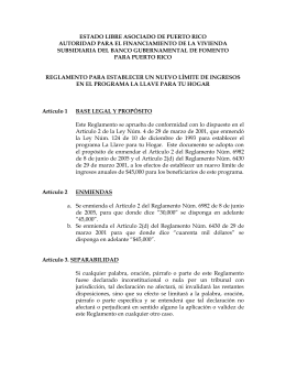 Amendment to Regulations of Key to Your Home Program to establish new $45,000 limit income (In Spanish)