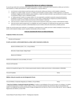 Predesignation of Personal Physician form (Spanish)