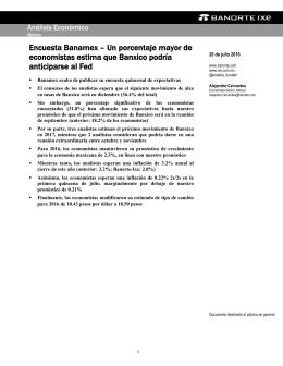 07/20/2016 MEXICO: Encuesta Banamex – Un porcentaje mayor de economistas estima que Banxico podría anticiparse al Fed.