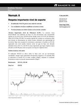 07/12/2016 ANALISIS TECNICO: Nemak A se ubica en posible zona de reversión.