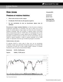 07/12/2016 ANALISIS TECNICO: El Dow Jones en proceso de romper al alza.