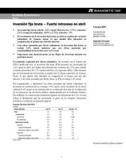 07/05/2016 MEXICO: Inversión fija bruta – Fuerte retroceso en abril.