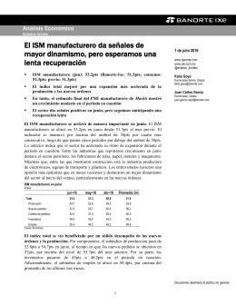 07/01/2016 EEUU: El ISM manufacturero da señales de mayor dinamismo, pero esperamos una lenta recuperación.
