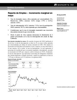 06/28/2016 MEXICO: Reporte de Empleo – Incremento marginal en mayo.