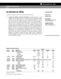 06/24/2016 MEXICO: La semana en cifras - La atención estará centrada en el anuncio de política monetaria.