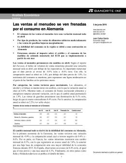 06/03/2016 EUROZONA: Las ventas al menudeo se ven frenadas por el consumo en Alemania.