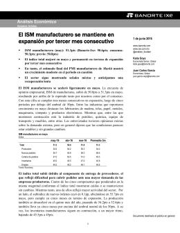 06/01/2016 EEUU: El ISM manufacturero se mantiene en expansión por tercer mes consecutivo.