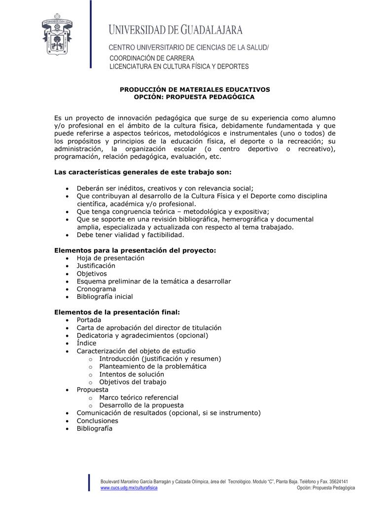 Modalidad: Propuesta Pedagógica (pdf)