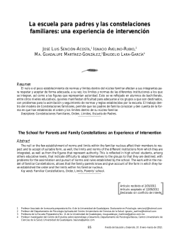 La escuela para padres y las constelaciones familiares: una experiencia de intervenci n [The School for Parents and Family Constellations: an Experience of Intervention]
