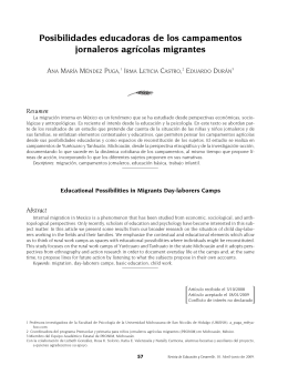 Posibilidades educadoras de los campamentos jornaleros agr colas migrantes [Educational Possibilities in Migrants Day-laborers Camps]