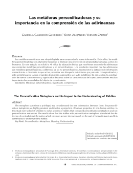 Las met foras personificadoras y su importancia en la comprensi n de las adivinanzas [ The Personification Metaphors and its Impact in the Understanding of Riddles ]