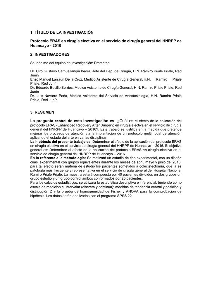 Resumen Protocolo ERAS en cirugía electiva en el servicio de ...