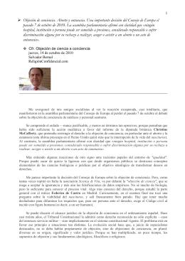 ObjecionCienciaConcienciaParlamentoEuropeoBernal