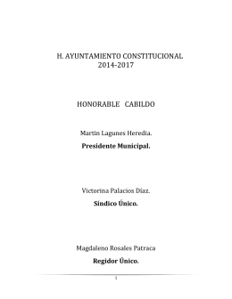 H. AYUNTAMIENTO CONSTITUCIONAL 2014-2017 HONORABLE   CABILDO