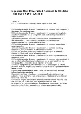 Ing. Civil Universidad Nacional de Córdoba Resolución 608 Anexo II