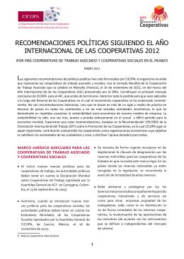 Recomendaciones políticas de CICOPA siguiendo el Año Internacional de las Cooperativas