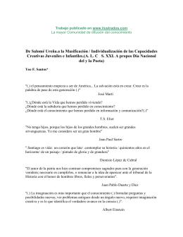 De Salome Urena.a la Masificacion / Individualizacion de las Capacidades Creativas Juveniles e Infantiles.(A. L. C S. XXI. A propos Dia Nacional del y la Poeta)
