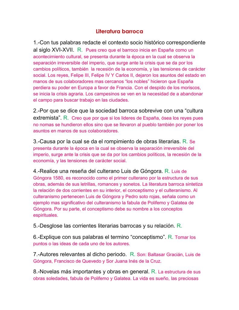 De La Literatura Barroca Literatura Ii Docx