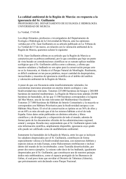 La calidad ambiental de la Regi n de Murcia: en respuesta a la ignorancia del Sr. Guillam n.